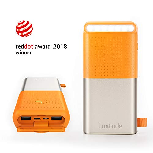 Luxtude 20000mAh Waterproof Portable Charger, Built-in Stron