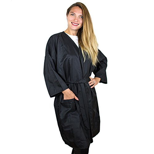 """Salon Supply Co Kimono Robe - Lightweight Polyester Water Resistant – 37"""" Long - Ties at Waste – For Hair Salon and Spa"""