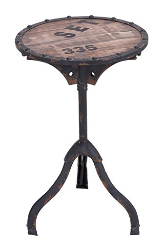 [Deco 79 Industrial and Rustic Style Accent Table, Brown] (Brown Rustic Desk)