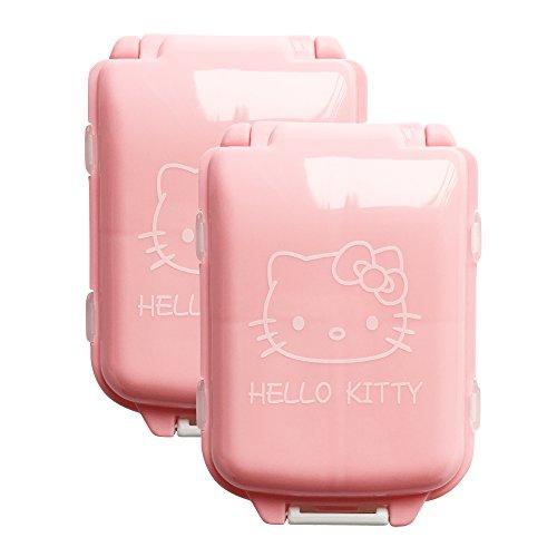 BeneAlways 2 Pcs of Hello Kitty Portable Pill Box Case Holder Organizer Storage for Medicine Tablet Vitamin (Pink)]()