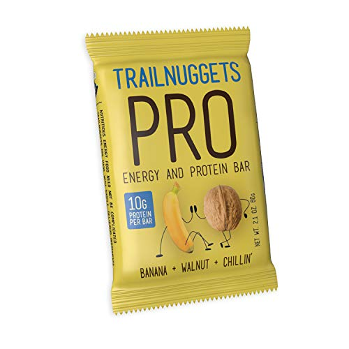 NEW Trailnuggets PRO Protein Energy Bar, Banana Walnut, Vegan, Non-GMO, Gluten-Free, Dairy-Free, Soy-Free, Plant Based Protein (Single 2.1 ounce bar)