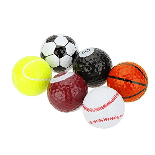 Funny Novelty Practice Golf Balls 6Pack For Kids Men Woman , Christmas Birthday Gift (Balls)