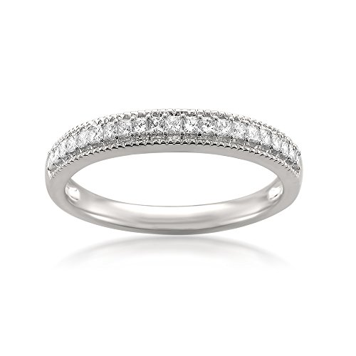 0.38 Ct Princess Diamond (14k White Gold Princess-cut Diamond Milgrain Vintage Bridal Wedding Band Ring (1/3 cttw, H-I, SI2-I1), Size 5)