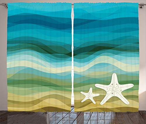 Ambesonne Abstract Home Decor Curtains, Abstract Design Modern Illustration of Waves Starfish Sandy Beach Aquatic Theme, Living Room Bedroom Decor, 2 Panel Set, 108 W X 84 L inches, Blue Beige