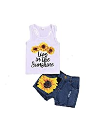 1-8T Toddler Girl Sleeveless Vest Tops +Floral Denim Shorts Outfits Set
