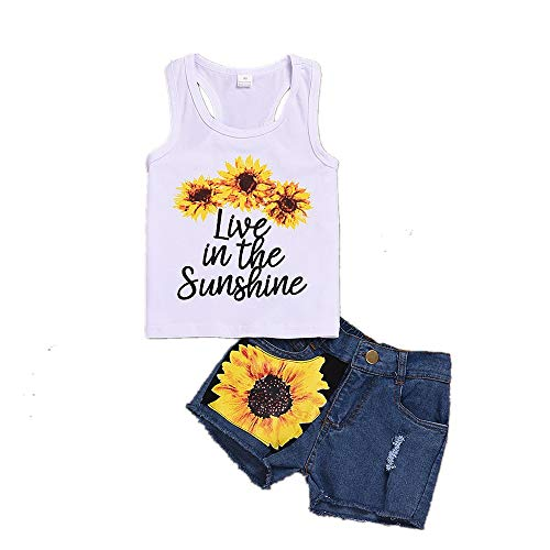 2 Style Toddler Girl Sleeveless Vest Tops +Floral