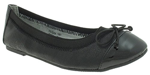 Cap Toe Bow - Capelli New York Girls Faux Leather Flat with Toe Cap Elastic Collar and Bow Black 2