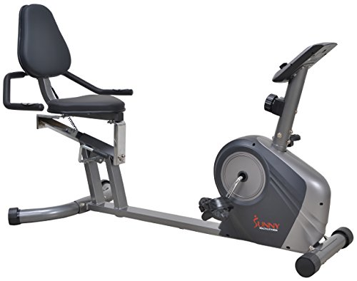 Sunny Health & Fitness Magnetic Recumbent Bike Exercise Bike, 350lbs High Weight Capacity, Monitor,...