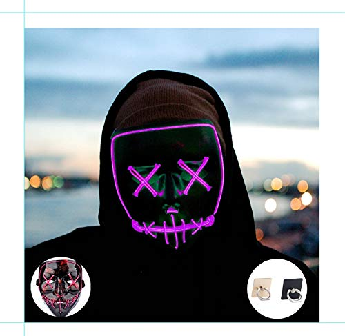 (Light up Mask Led Mask Halloween Mask Led Mask Light up Mask Scary Mask for Festival Cosplay Halloween Costume Party)