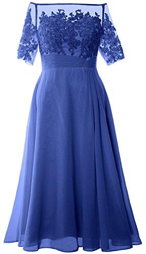 MACloth Women Off Shoulder Mother of Bride Dress Tea Length Formal Evening Gown Azul