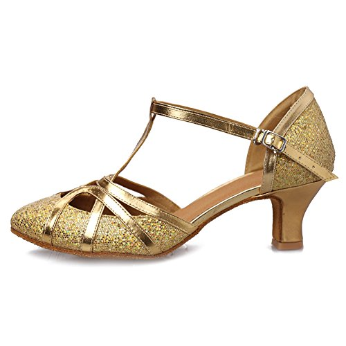 Roymall Women's Gold,Fashion Ballroom Party Glitter Latin Dance Shoes Model 511-5,9 B(M) (511 Shoes)