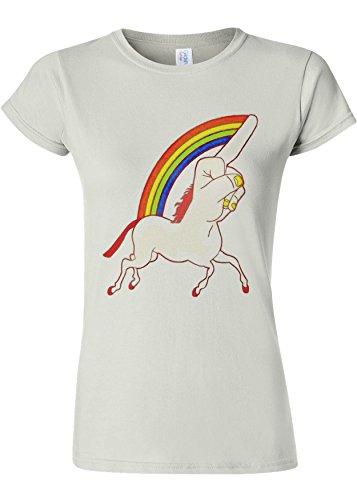 批判とにかく南方のUnicorn Middle Finger Funny Novelty White Women T Shirt Top-XL