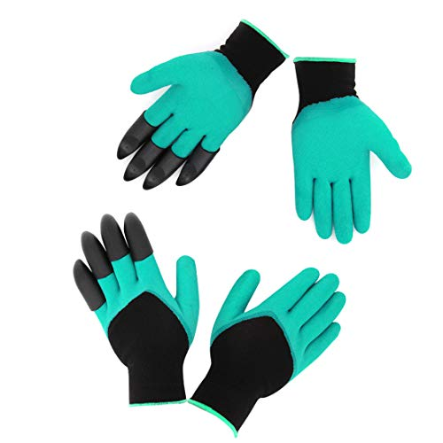 HAODE FASHION 2 Pairs Women Size Garden Gloves Small with Fingertips Claws on Each Hand- for Right & Left Hands- for Digging and Planting- for Rose Pruning- Best Gift for ()
