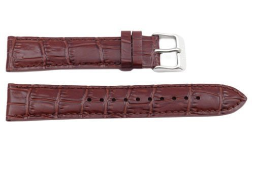 ed Brown Leather Alligator Grain 20Mm Watch Band - Brown, 20Mm, Silver Tone, Regular ()