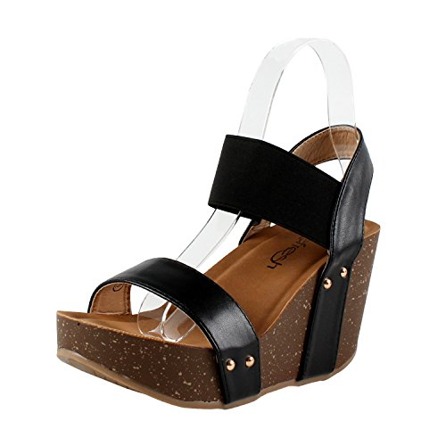 Refresh Women's Mara-10 Platform Cork Wedge High Heel Leather Sandal, Black, 5.5 ()