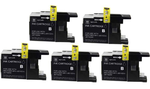 Virtual Outlet ® 5 Pack Compatible Black Inkjet Cartridges for Brother LC-75 LC75 LC 75 LC-75XL, LC-75BK High Yield Compatible with Brother MFC-J6510DW, MFC-J6710DW, MFC-J6910DW, MFC-J280W, MFC-J425W, MFC-J430W, MFC-J435W, MFC-J5910DW, MFC-J625DW, MFC-J8