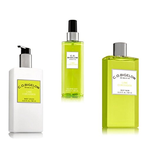 C.O. BIGELOW - Bath & Body Works -GIFT SET- New scent collection of unisex fragrances! LIME CORIANDER ,11.6 FL oz. body lotion, 11.6 FL oz. body wash, 6.7 FL oz.Mist (Bigelow Coriander)
