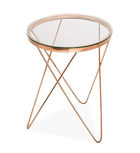 (TOV Furniture The Marquee Collection Modern Style Cocktail Area Glass Top Side  Table, Rose Gold)