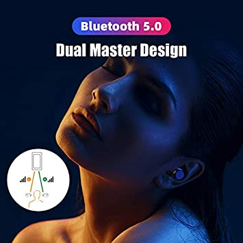 True Wireless Earbuds Bluetooth 5.0 Headphones, Dual Master Direct Connect in-Ear TWS Ear Buds IPX6 Waterproof Stereo Call w Mic Instant Pair Low Latency Wireless Mini Headset Earphone 28H Cycle Play