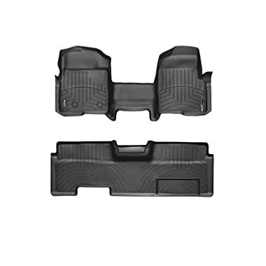 2009-2014 Ford F-150-Weathertech Floor Liners-Full Set (Includes 1st and 2nd Row-Over The Hump)-Fits SuperCab, Does Not Fit with Manual 4x4 Transfer Case or flow through Console.-Black