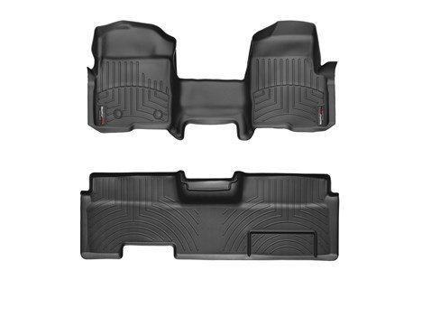 2009-2014 Ford F-150-Weathertech Floor Liners-Full Set (Includes 1st and 2nd Row-Over The Hump)-Fits SuperCab, Does Not Fit with Manual 4x4 Transfer Case or flow through Console.-Black (Weathertech Floor Mats 2014 F150 compare prices)