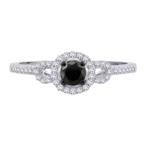 Center Black and White Diamond Promise Ring in 10K White Gold 1 2 cttw Li