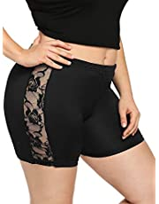 SOLY HUX Women's Plus Size Contrast Lace Stretch Workout Yoga Running Bike Short