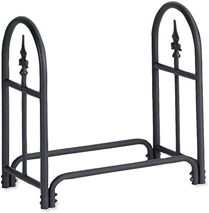 Plow Hearth 10117 Heavy Duty Steel Outdoor Firewood Rack with Finial Design