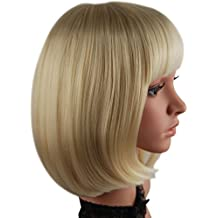 """eNilecor Short Bob Hair Wigs 12"""" Straight with Flat Bangs Synthetic Colorful Cosplay Daily Party Wig for Women Natural As Real Hair+ Free Wig Cap (Light Blonde)"""
