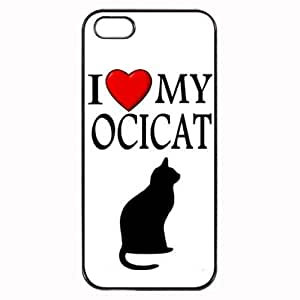 Custom Ocicat I Love My Cat Symbol Silohuette iPhone 4 4S Case Cover Hard Shell