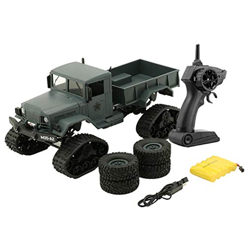 Yezijin Remote Control Car, RC Military Truck Army 1:16 4WD Tracked Wheels Crawler Off-Road Car RTR Toy New (Green(4 x tire(Circle + Crawler))
