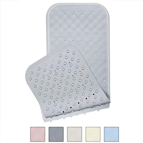 Yimobra Original Bath Tub and Shower Mat Long 37 X 14.2 Inches, Soft Rubber Materials, Non-Slip with Drain Holes, Suction Cups, Phthalate Free, Machine Washable, Bathroom Mats Gray ()