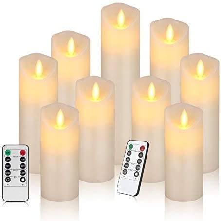 Flameless Candles Battery Operated Candles Set of 9 Ivory Real Wax Pillar LED Candles with Real Wax Pillar Flickering LED Candles with 10-Key Remote Control 2 4 6 8 Hours Timer