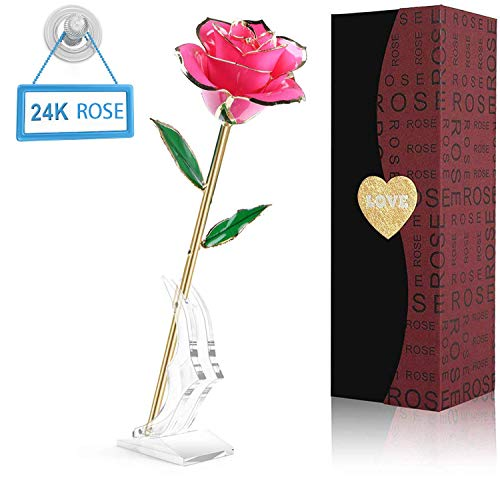 (PUTIA Gold Rose 24k Gold Dipped Rose Everlasting Long Stem Real Rose Exquisite Holder, Unique Romantic Gift Valentine's Day Forever Rose, Anniversary, Mother's Day Birthday Gift)