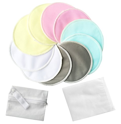 Pack of 10 Organic Bamboo Nursing Pads with Laundry Bag, Washable Nursing Pads Breast Pads Breastfeeding Pads - Reusable, Soft, Waterproof, Heavy Leakproof, Breathable and Hypoallergenic by Bassion