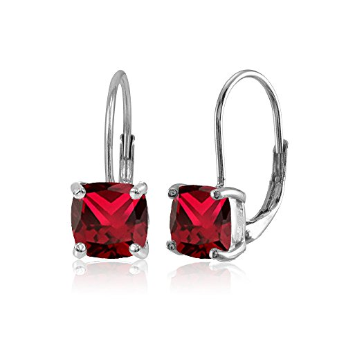(Sterling Silver Created Ruby 7x7mm Cushion-Cut Leverback Earrings)