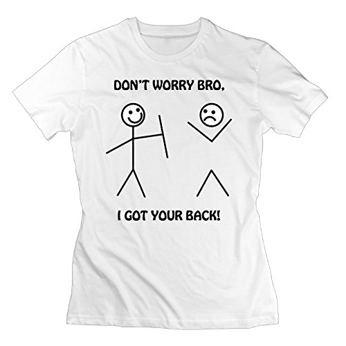 UanshanH I Got Your Back - Funny Stick Figures Womens Basic Casual Fitted Soft Short Sleeve Round Crew Neck T Shirt Tee White - Instrumentals Beats Got