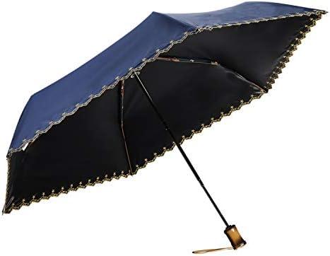 日傘 折りたたみ 軽量 (265g)ワンタッチ自動開閉 UPF50+ UVカット率99% FASAZ 完全遮光 100 紫外線遮断 折り畳み傘 頑丈な6本骨 耐風撥水 晴雨兼用 レディース コンパクト 収納ポーチ付き 携帯やすい プレゼント (ネイビー)
