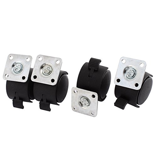 uxcell Chair 1.5 Inch Dia Wheel Square Plate Mount Swivel Brake Caster 4 Pcs (Wheel Plate Mount)