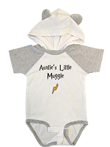 - BeeGeeTees Auntie's Little Mvggle Funny Wizard Baby Romper Wizard Onesie (6 Months, Blended White - Vintage Heather)