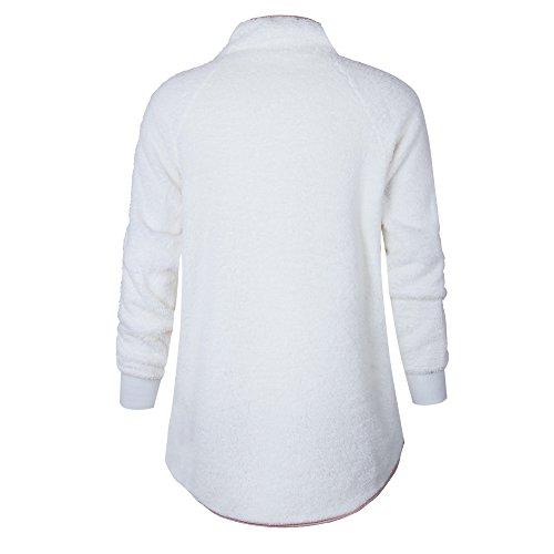 Bolsillo de Otoño Liquidación Capucha de de Deporte Manga Bolsillos Cuello con con Blanco Mujer SHOBDW de Larga Tops Cremallera Invierno Alto Abrigo 7da6nqwwI