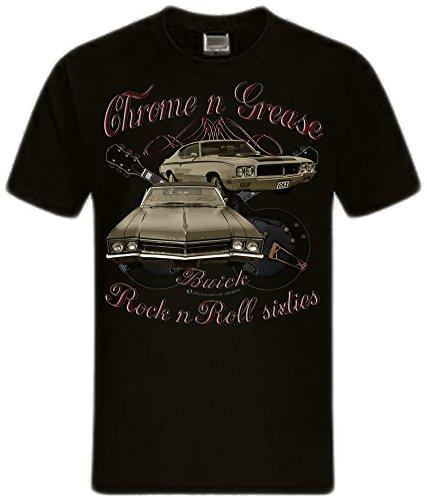 Shirtmatic Motor und Rock Guitars Hot Rod Rock n Roll Rockabilly T-Shirt (M, Chrome Grease 60s Buick)