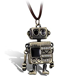 Men's Womens Vintage Alloy Bronze Cute Tone WALL.E Alien Robot Pendant Necklace, 15-31 inch Chain, Robot Charm Long Necklace Fashion Leather Cord Bot Jewelry Gift