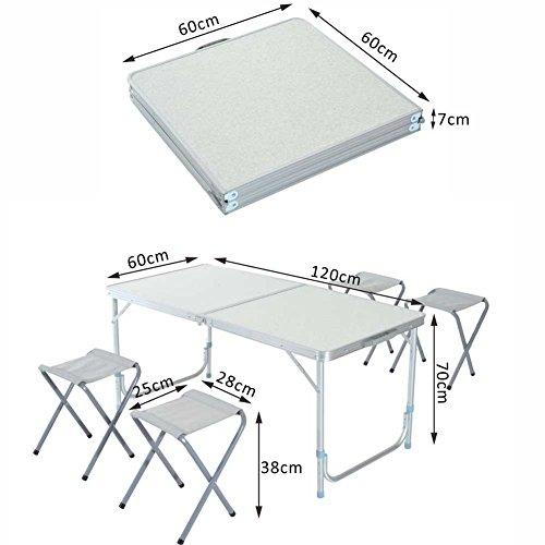 Altezza Tavolo Per Sgabelli.Bakaji Tavolo Tavolino Da Campeggio 120 X 60 Cm Regolabile In
