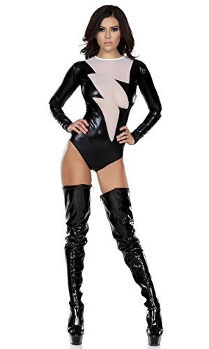 Forplay Women's Metallic Bodysuit with Mesh Lightning Bolt Inset, Black, X-Small/Small ()