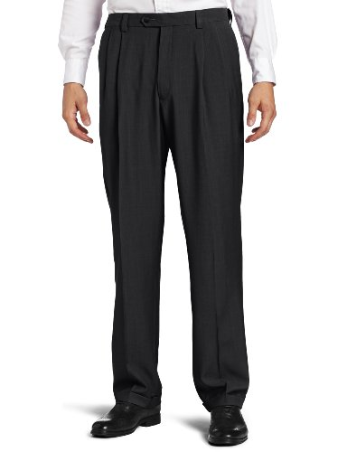 Haggar Men's Repreve Stria Gab Pleat Front Dress Pant,Med Grey Stria,44x30 (Pleated Pants Dress Grey)