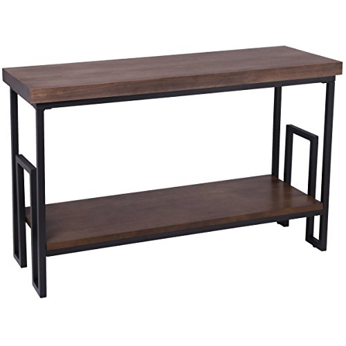 Merveilleux Rustic Narrow Metal And Wooden Sofa Console Table With Stylized Table Legs  And Storage Shelf