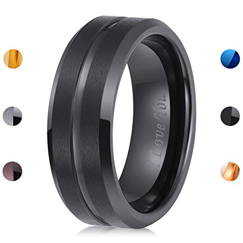 LaurieCinya Tungsten Carbide Ring Men Women Wedding Band Engagement Ring 8mm Comfort Fit Engraved 'I Love You' Black