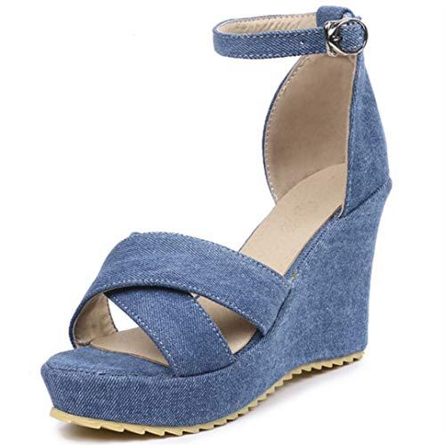 MEIZOKEN Women's Wedge Sandals Crisscross Peep Toe Pumps Shoes Fashion Ankle Buckle Strap Platform Sandals Blue (Pumps Peep Criss Toe Cross)