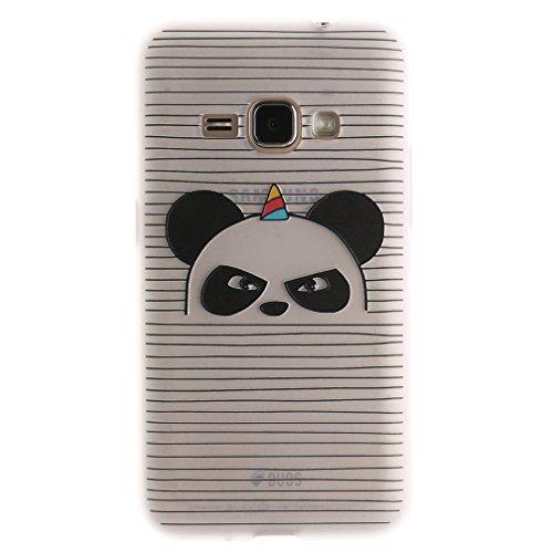 Funda Samsung Galaxy J1 2016 SM-J120F,XiaoXiMi Carcasa de Silicona TPU Suave y Esmerilada Funda Ligero Delgado Carcasa Anti Choque Durable Caja de Diseño Creativo - Flores de Datura Angry Panda